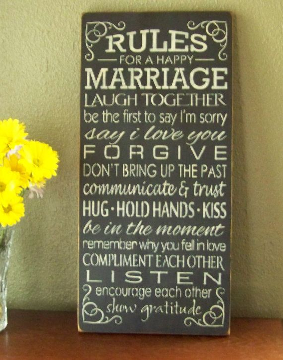 Rules For A Happy Marriage, Hand Stenciled Painted Wood Sign, Marriage Sign on Etsy, $39.95