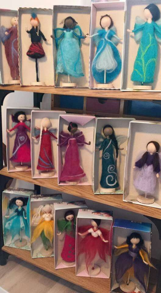 Handfelted Fairies. For more information check out the Irish Wasp Creations Facebook page.