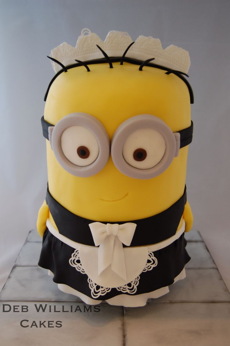 Birthday Cakes - This is Phil the French maid minion from Despicable me 2. He's a standing minion, 12 inches tall