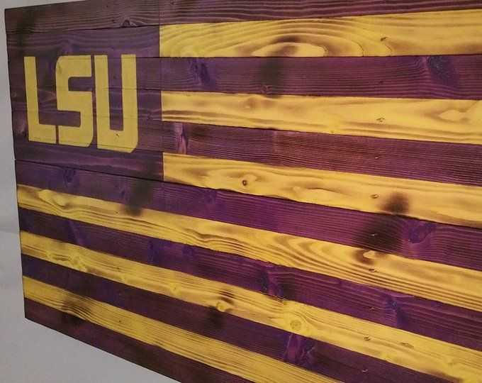 Hand Crafted Distressed Wood Flag Wall Art By Vintage81flags Lsu