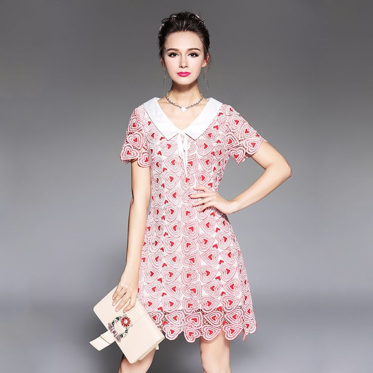 Aliexpress.com : Buy Heart Embroidery Women Cute Lace Summer Dress 2017 Runway Designer Short Sleeve 4XL 5XL Plus Size Mini Dress for Woman from Reliable plus size suppliers on JELLYFOND Clothes Store