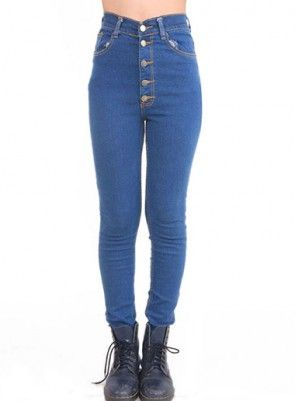 High Waist Skinny Button Up Jeans