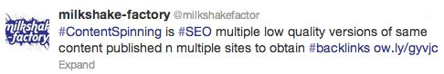 Tweets can be amplified by adding hashtags (#), making specific terms searchable in Twitter's search bar for more avid users looking for targeted content.  Here's an example: http://milkshake-factory.com/increase-your-facebook-engagement/