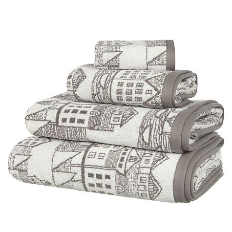 Buy John Lewis Coastal Nordic Scene Towels, Slate Online at johnlewis.com