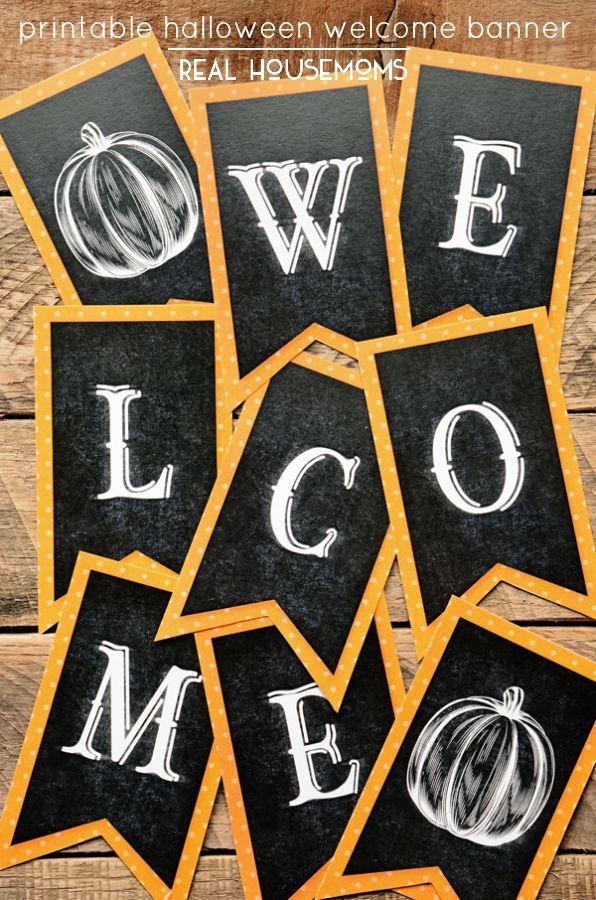 This Printable Halloween Welcome Banner is the perfect addition to your fall decor! | Real Housemoms