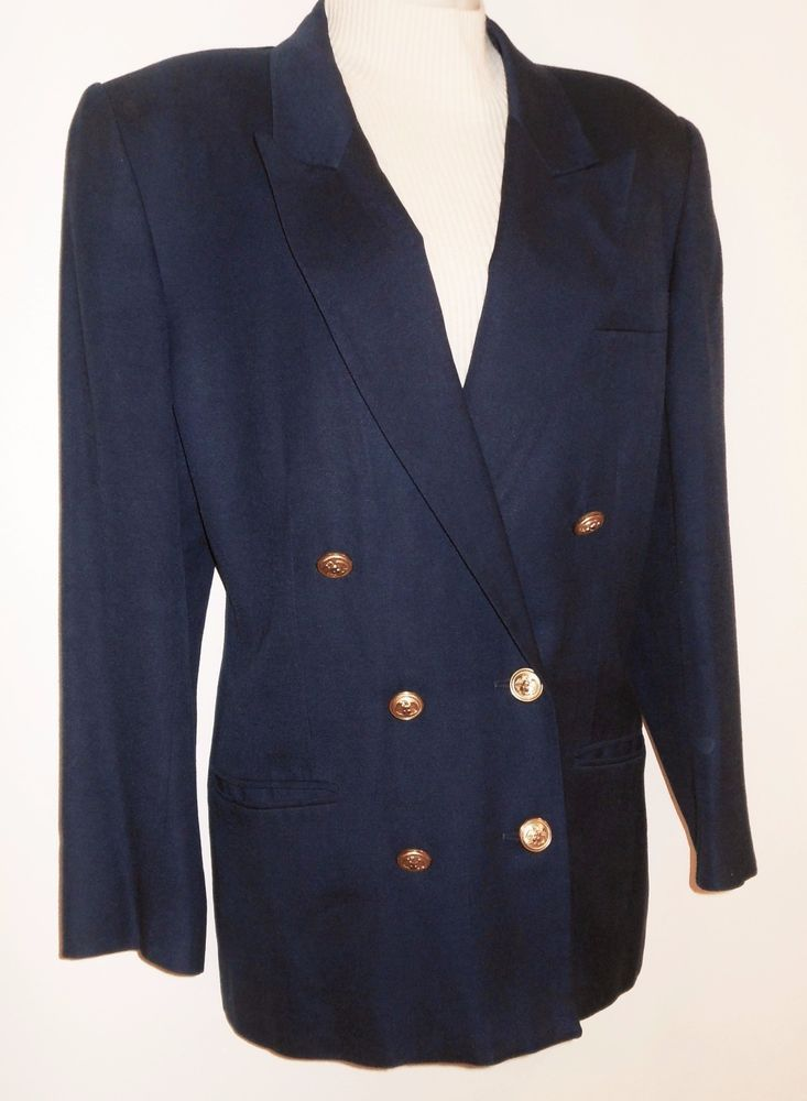 ee3654a30 Vtg Talbots 12P Blazer Navy Blue Gold Button Double Breasted Suit ...