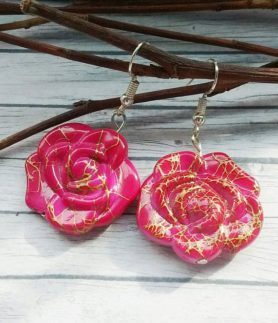 Check out this item in my Etsy shop https://www.etsy.com/uk/listing/592401914/pink-flower-earrings-hot-pink-earrings