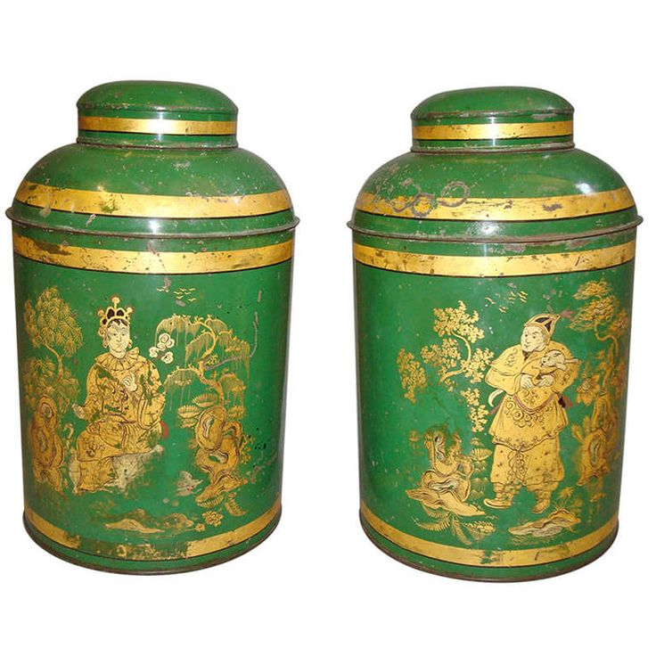 Good Pair of English 19th Century Japanned Tole Tea Canister | From a unique collection of antique and modern tea canisters at https://www.1stdibs.com/furniture/more-furniture-collectibles/tea-canisters/