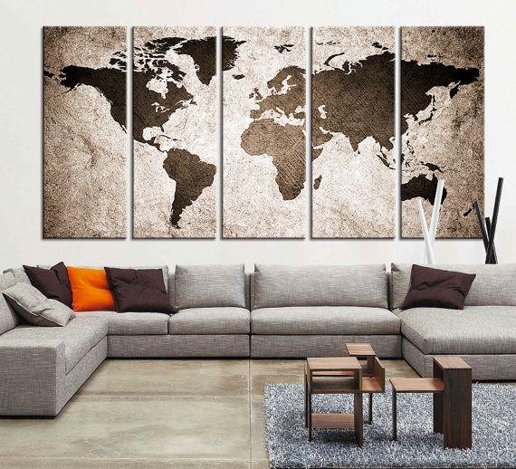 CANVAS ART Print World Map Canvas Print X by ExtraLargeWallArt                                                                                                                                                                                 More