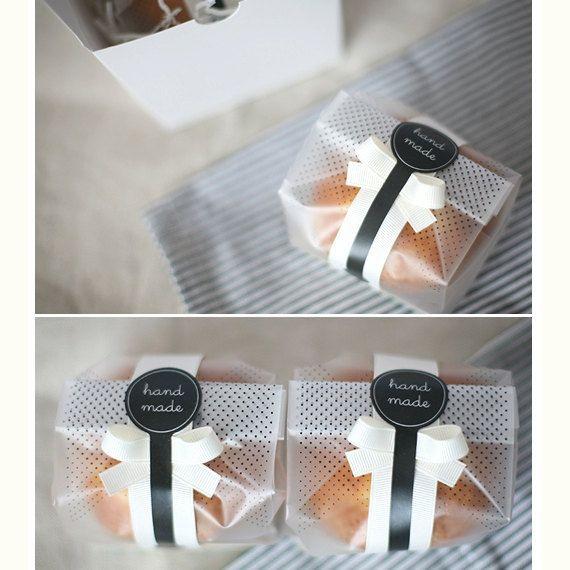 Negro puntos semitransparentes Cookie Bag25bags 8 x 6 por glassnam