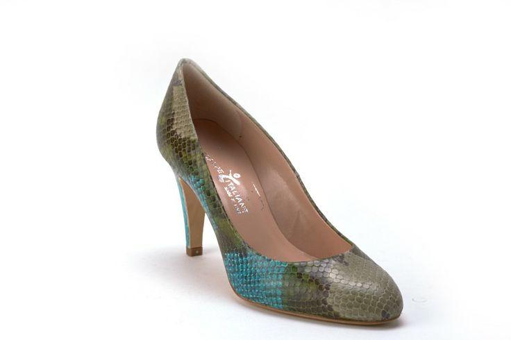 Scarpe Donna SCARPE ITALIANE Decollete donna tacco 7 Pitonate verdi
