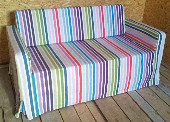 Slipcover For Solsta Sofa Bed From Ikea Multicolor Stripes In 2018 Custom Cover Pinterest And Slipcovers