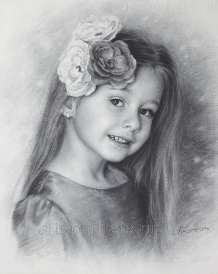 Drawing of a little girl anastasia with beautiful flowers drawn by dry brush watercolor paper cm