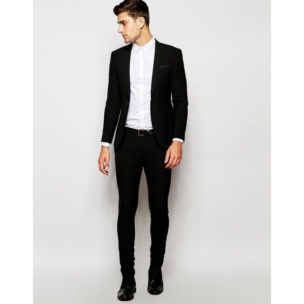 ASOS Wedding Super Skinny Suit Jacket In Black (€35) ❤ liked on Polyvore featuring men's fashion, men's clothing, men's suits, mens skinny fit suits, mens beach wedding apparel, asos mens clothing, tall mens clothing and tall and skinny mens clothing