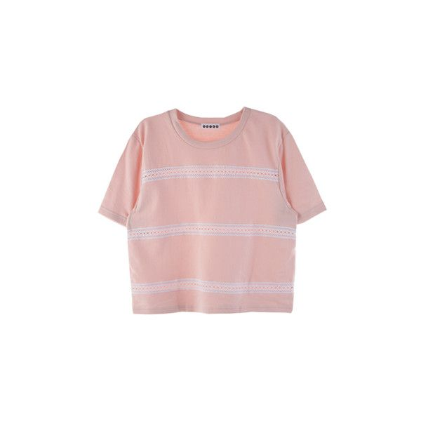 SCRAP쓰리 레이스 탑 ❤ liked on Polyvore featuring tops, shirts, t-shirts, shirt top, pink shirts and pink top