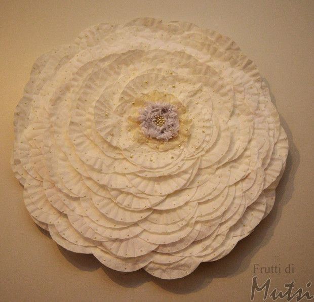 Wall Rose made from filter bags and hula hoop
