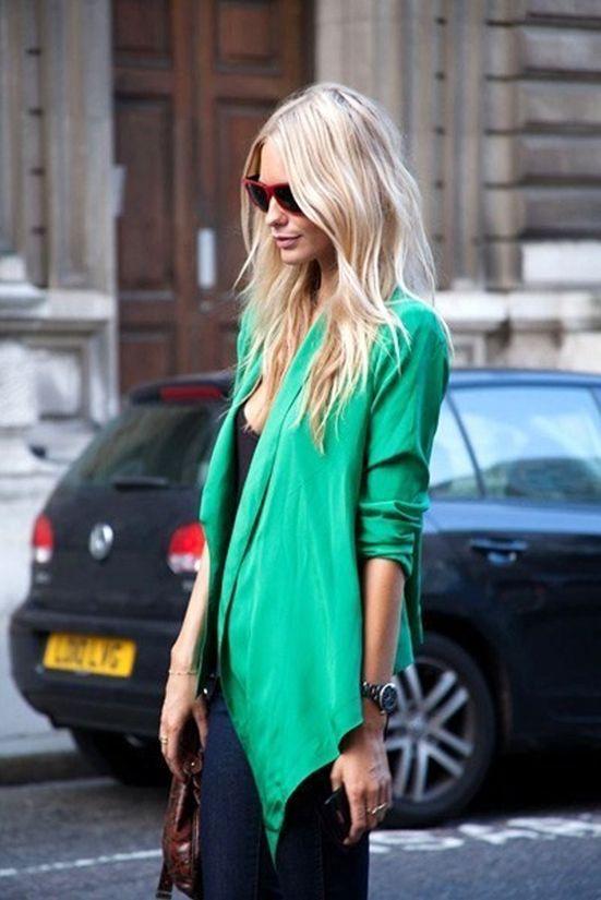 Uneven blazer. Love the color