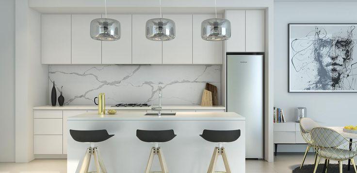 White kitchen, marble tiles for splash back/island