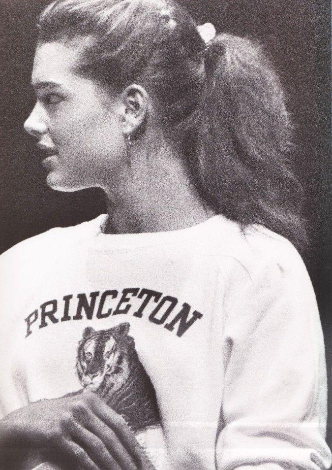 Actress-model Brooke Shields wearing her school sweatshirt ...