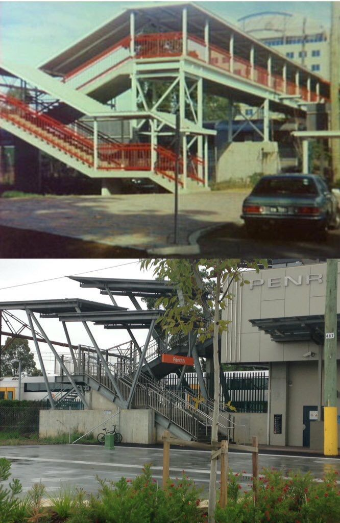 The northern entrance to Penrith Railway Station 1997 and 2016. [1997 - Penrith City Council>2015 - Phil Harvey. By Phil Harvey]