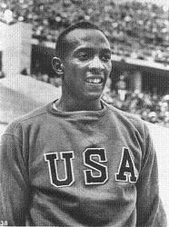 Jesse Owens in sweatshirt in Berlin Olympics 1936