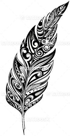 SBink Tribal Feather Tattoo ❥❥❥ https://tattoosk.com/tribal-feather-tattoo#408