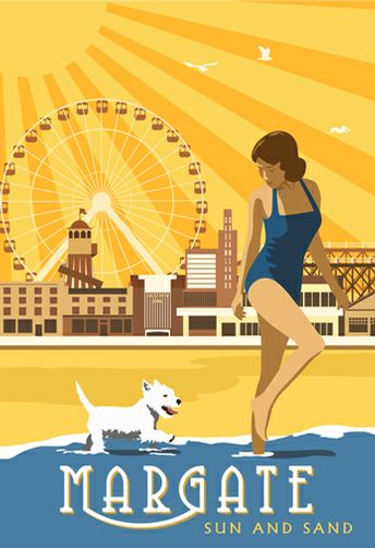 Vitage Margate beach and Dreamland. Prices starting at £12 for A4 print from www.whiteonesugar.co.uk