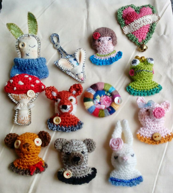 Brooches #Crochet #Embroider #Sewing