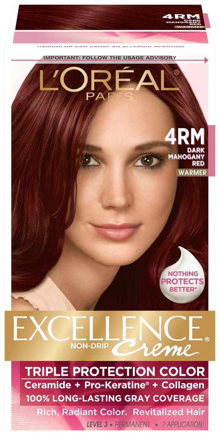 L Oreal Paris Excellence Creme 4rm Dark Mahogany Red 1 Kit Hair Color Mahogany Best Red Hair Dye Mahogany Red Hair