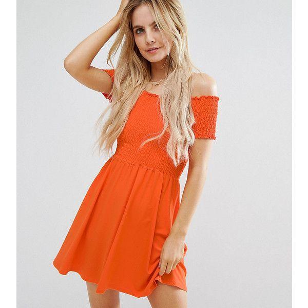 ASOS PETITE Shirred Bandeau Mini Sundress ($21) ❤ liked on Polyvore featuring dresses, orange, petite, off the shoulder sundress, asos dresses, petite sundresses, orange dresses and petite dresses