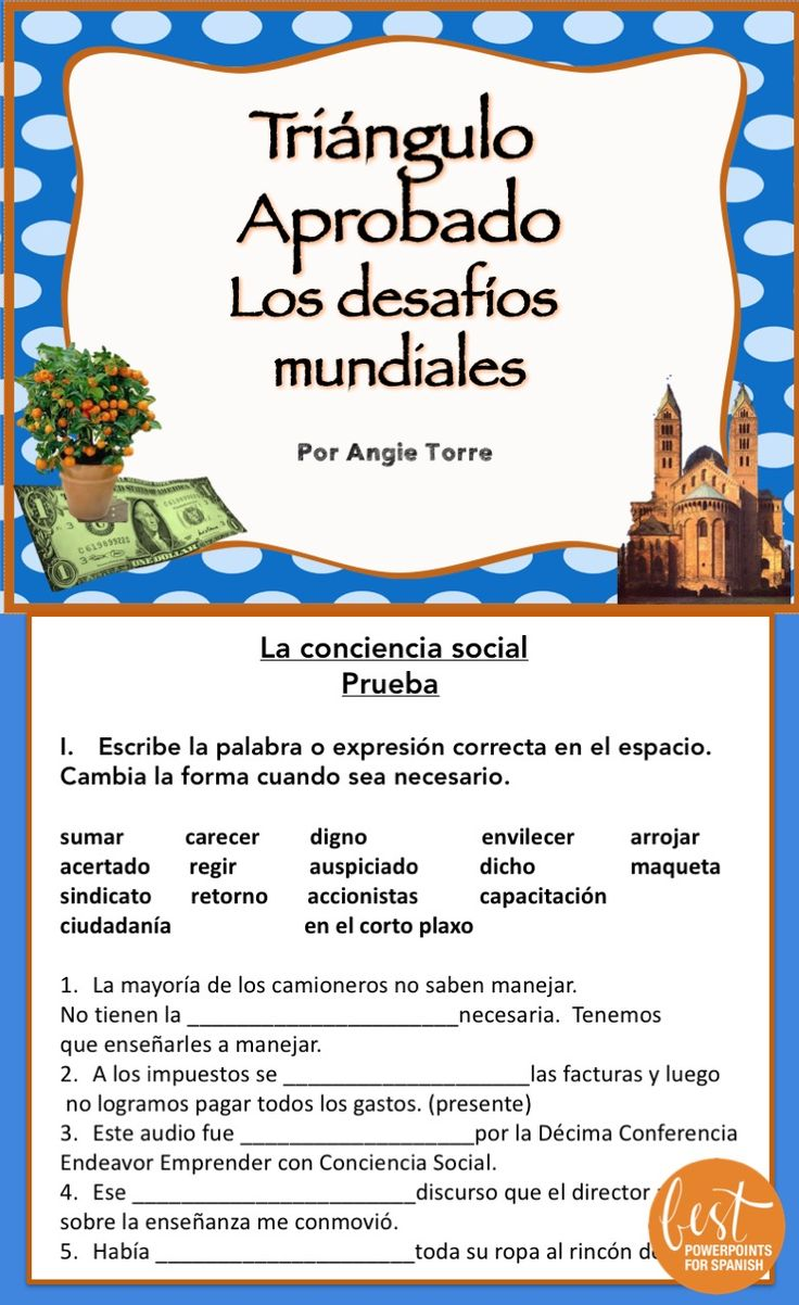 "Prepare your students for the #APSpanish Language and Culture Exam with these vocabulary lists, activities, and assessments. Included are: Vocabulary lists with synonyms, definition and use in context; URL for Quizlet where students can hear the word, practice with flash cards and play games for more repetition; quiz for each of the six subchapters of ""Los desafíos mundiales"" in which students fill in the missing word, pair synonyms and write sentences using the vocabulary; activity for…"