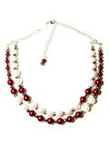 Deco Pearl 2 Strand Necklace in Red and White   Mink Schmink