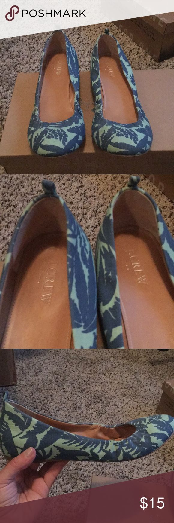 J. Crew flats. Like new Blue and teal flats, only worn a few times. Super cute J. Crew Shoes Flats & Loafers