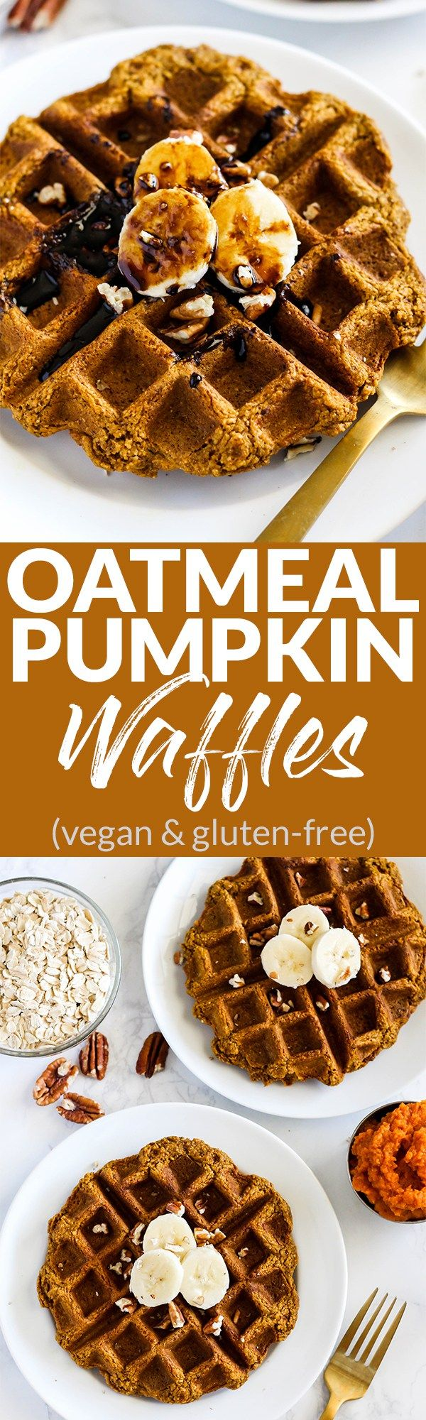 Perfect for weekday breakfasts or weekend brunch, these wholesome Vegan Oatmeal Pumpkin Pancakes will be on repeat this fall & winter! (gluten-free) @LoveMySilk #TastesLikeBetter #sponsor