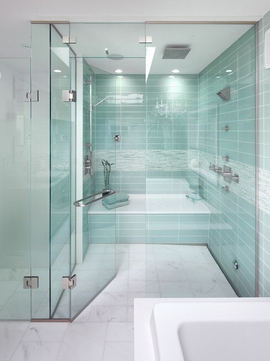 glass tile shower and tub