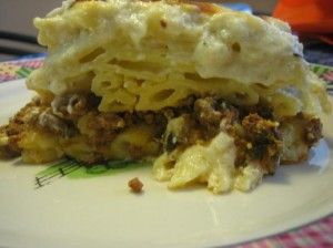 This is an Egyptian favorite. A ground meat mixture between two layers of macaroni smothered in a creamy bachamel sauce. You can use any type of pasta you like. The most common are Penne (which is my favorite) angel hair, spaghetti or elbow macaroni. I have a glass dish that is 8x11 and I prefer to bake in this dish because I like it to be a little thick, but if you like it to be a little thinner than that you can opt for the larger 9x13.