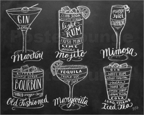 Poster / Leinwandbild Cocktail-Karte - Lily & Val in Möbel & Wohnen, Dekoration, Bilder & Drucke   eBay