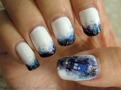 Doctor Who TARDIS watercolor galaxy pseudo-French tip manicure  // Bad-Mushroom