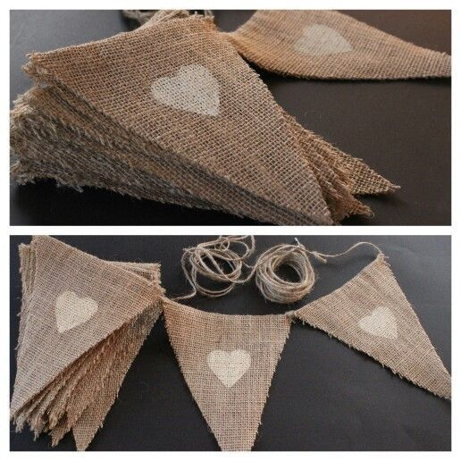 My DIY rustic Engagement Party bunting made with twine, burlap/ hessian and finished with ivory hearts painted on top: