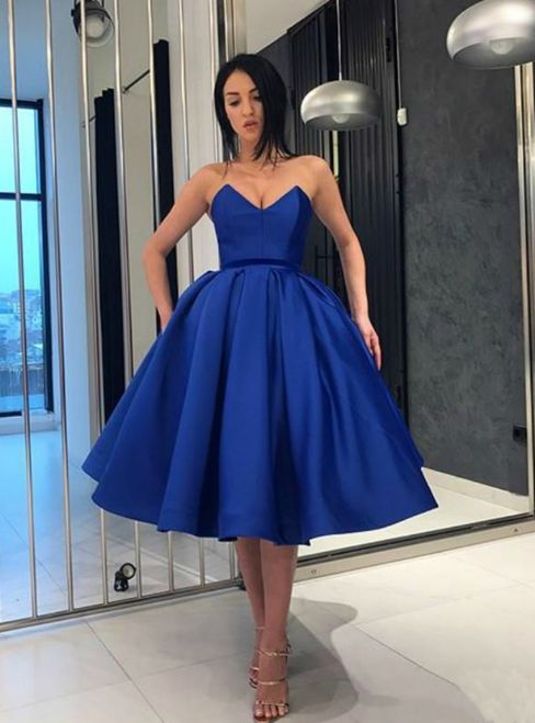 20ae24703ce Blue Ball Gown Satin Sweetheart Homecoming Dress