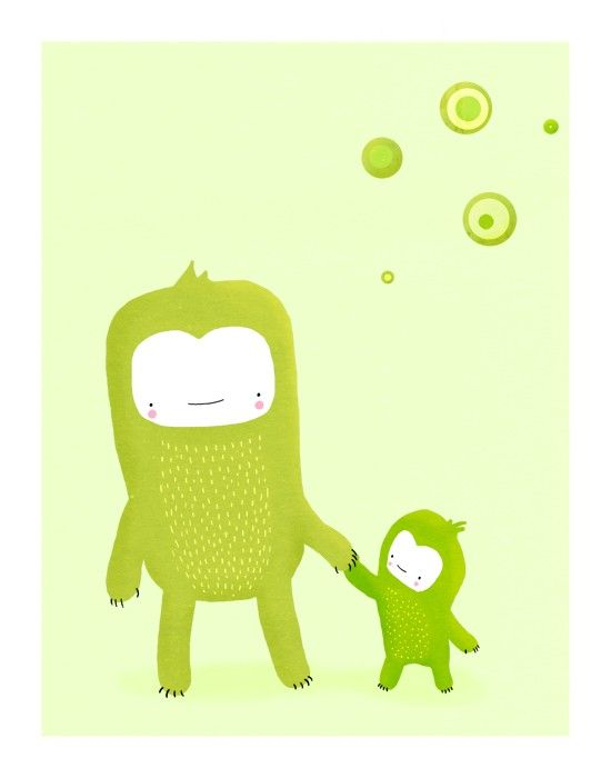 two green monsters. 8.5 x 11 art print by lulufroot on Etsy, $20.00