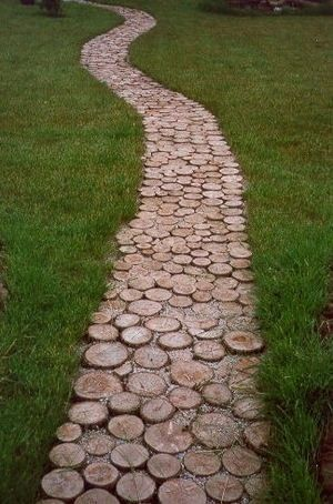-not very mossy, but this sliced log garden path is pretty cool! by chrystal