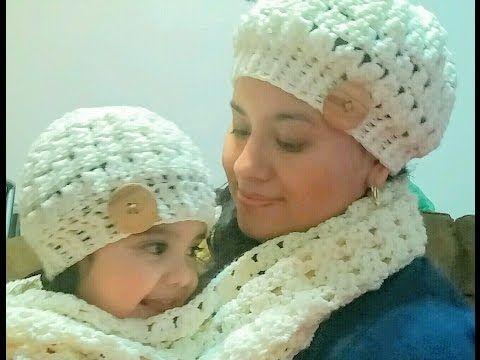 Gorro en crochet(ganchillo) para niña o mujer paso a paso - YouTube