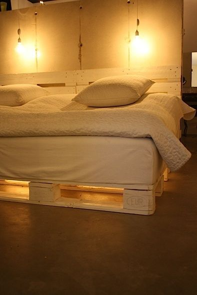 Wood Pallets with lighting This bed is made of shipping pallets that the endlessly clever Swedish designer Maliin Stoor built for her daughters: a chain of LEDs illuminates it from underneath. Here are details, translated from Swedish (we hope accurately enough): Lights under the bed… Inspired by a hotel. I bought a light chain and put it under the bed.