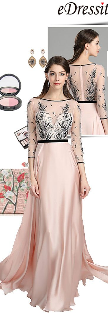 Pink & Black Embroidery Long Dress with Sleeves #eDressit