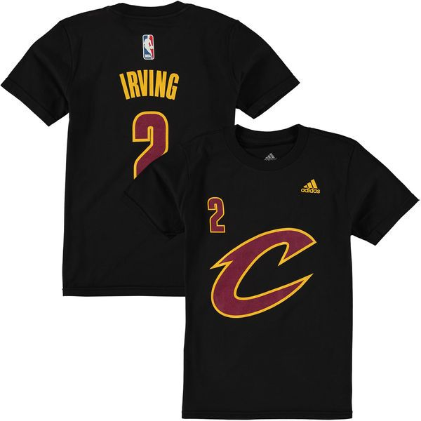 Youth Cleveland Cavaliers Kyrie Irving Black Game Time Flat Name & Number T-Shirt - NBA Store
