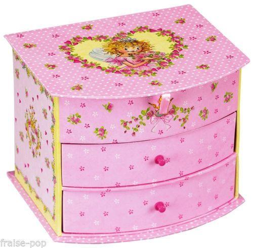 BOITE-a-BIJOUX-Princesse-LILLIFEE-Mini-COMMODE-MIROIR-Fee-Lili-Rose-PAILLETTES