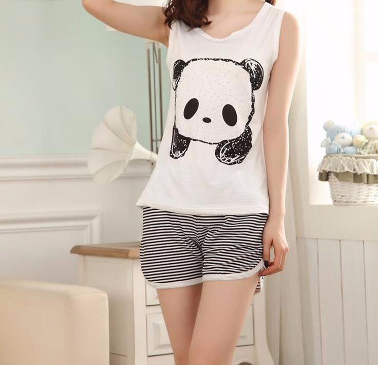 Hot Summer panda Pajamas set sleeveless sleepwear animals printed womens girls Pyjamas cartoon vest pajamas suit