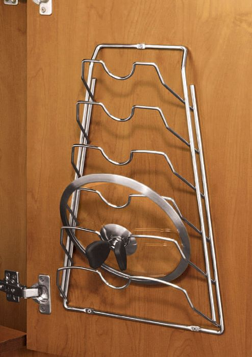 Cabinet Door Lid Rack - Chrome in Pot Lid Racks