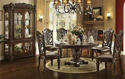 Formal Traditional Vendome Cherry 7 Pc Round Dining Room Set ...
